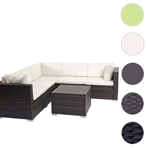 Mendler Poly-Rattan Sofa-Garnitur ROM Basic, Sitzgruppe Lounge-Set, Alu ~ Braun-Meliert, Kissen Creme