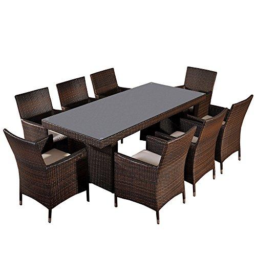 Mendler Sitzgruppe, Sitzgarnitur, Gartengarnitur Avignon BIG, Polyrattan ~ schwarz