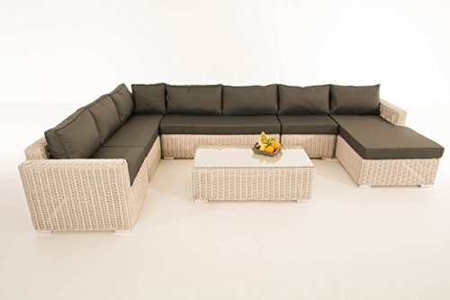 Mendler Sofa-Garnitur CP054, Lounge-Set Gartengarnitur, Poly-Rattan ~ Kissen Anthrazit, perlweiß