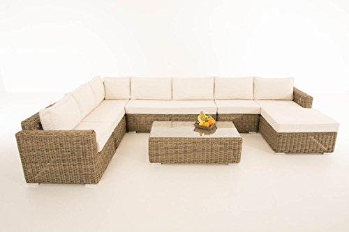 Mendler Sofa-Garnitur CP054, Lounge-Set Gartengarnitur, Poly-Rattan ~ Kissen Creme, Natur