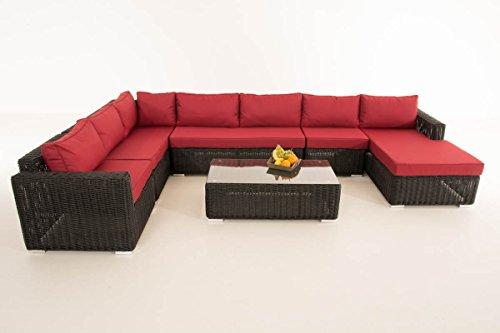 Mendler Sofa-Garnitur CP054, Lounge-Set Gartengarnitur, Poly-Rattan ~ Kissen Rubinrot, Schwarz