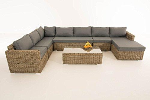 Mendler Sofa-Garnitur CP054, Lounge-Set Gartengarnitur, Poly-Rattan ~ Kissen eisengrau, Natur