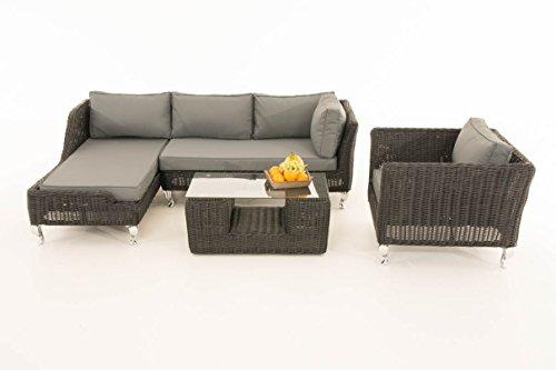 Mendler Sofa-Garnitur CP055, Lounge-Set Gartengarnitur, Poly-Rattan ~ Kissen eisengrau, Schwarz
