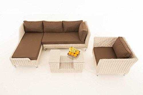Mendler Sofa-Garnitur CP055, Lounge-Set Gartengarnitur, Poly-Rattan ~ Kissen terrabraun, perlweiß