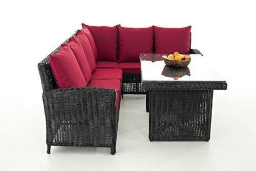 Mendler Sofa-Garnitur CP056, Lounge-Set Gartengarnitur, Poly-Rattan ~ Kissen Rubinrot, Schwarz