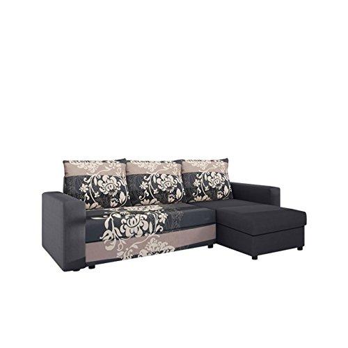 Mirjan24  Ecksofa Top Lux! Sofa Eckcouch Couch! mit Schlaffunktion und Zwei Bettkasten! Ottomane Universal, L-Form Couch Schlafsofa Bettsofa Farbauswahl (Alova 36 + Sving Grau)