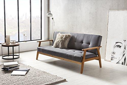SalesFever Design-Schlafsofa, Sofa-Bett im skandinavischen Stil, Modernes 3-Sitzer Klappsofa, Stoff Dunkelgrau, FSC® 100% Holzgestell Eiche