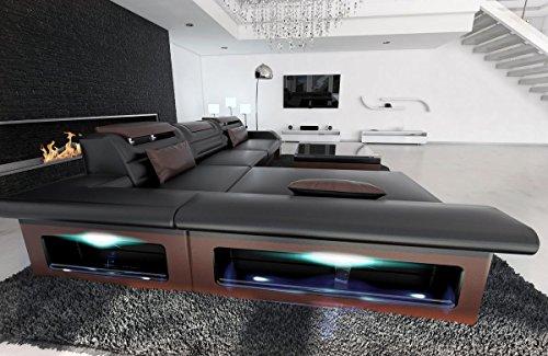 Sofa Dreams Ledersofa Monza L Form Schwarz-Braun