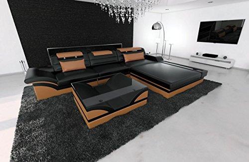 Sofa Dreams Ledersofa Parma L Form Schwarz-Braun