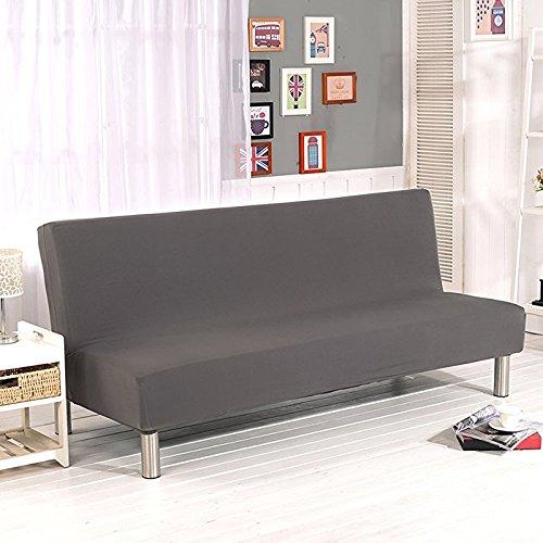 Surenhap Sofa ohne Armstützen, 3-Sitzer, elastische zusammenklappbare Couch / Sofa, mit Stretchbezug, Sofabett grau