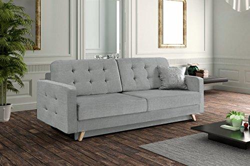 Velvet Savana,–Sofa–Schlafsofa (229cm) in Belle Farbe Grau mit Die Füße aus Holz