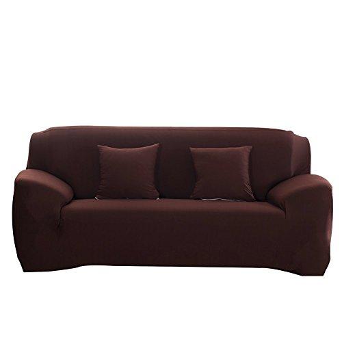 WATTA Überwurf, Elastischer Sofabezug 1 2 3 4 Sitzer Sofaüberwurf aus Spandex Polyester Sofahusse Sesselbezug Stretchhusse Sofaüberwurf Couchhusse Spannbezug in verschiedenen Farben (Braun, 2 Seater/(145-185cm))