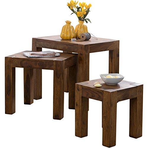 wohnling 3er set satztisch massivholz sheesham wohnzimmer tisch landhaus stil beistelltisch. Black Bedroom Furniture Sets. Home Design Ideas