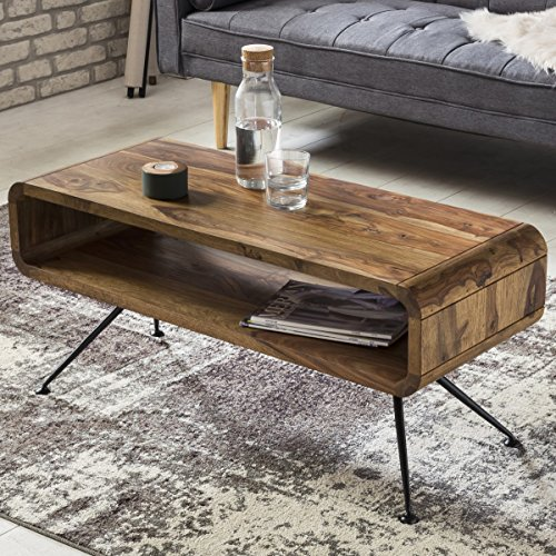 wohnling couchtisch kiran 100 x 40 x 45 cm sheesham massiv holz ablage metallgestell retro. Black Bedroom Furniture Sets. Home Design Ideas