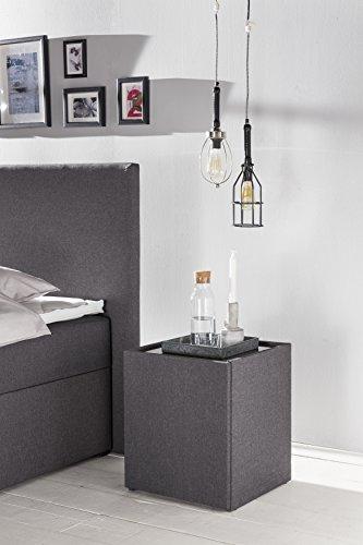 Furniture for Friends Möbelfreude® Nachkonsole Nele Anthrazit | Nachttisch mit Glasplatte und Zwei Fächern | Idealer Nachtschrank für Boxspringbetten und Polsterbetten