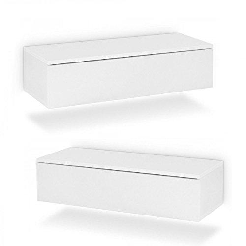 Galdem 2X Hänge Nachttisch mit Schublade Nachtkommode Nachtkonsole Beistelltisch Nachtschrank Hängenachttisch 2er Set Weiß