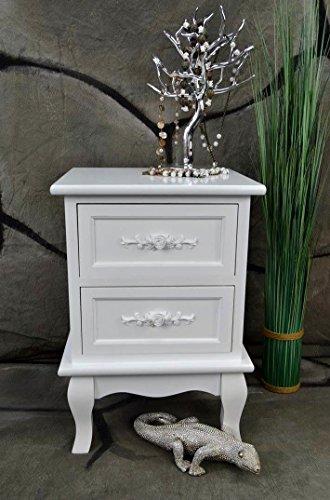 Livitat® Nachttisch Nachtschrank Nachtkonsole Nachschränckchen Nachtkommode Weiß barock LV4011 (2 Schubladen)
