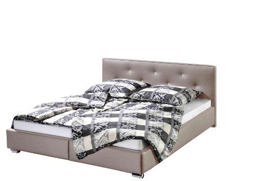 maintal polsterbett kristall 140 x 200 cm kunstleder bettgestell ohne matratze taupe m bel24. Black Bedroom Furniture Sets. Home Design Ideas