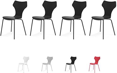 Tenzo 0600-024 Lolly 4er-Set Designer Stühle Holz, schwarz, 53 x 45 x 85 cm