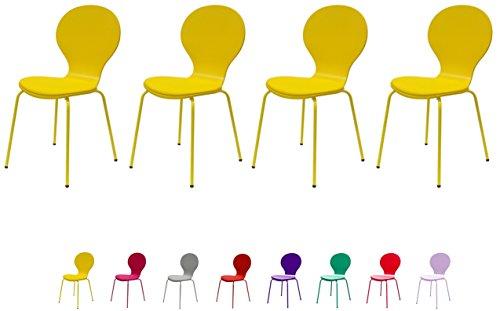 Tenzo 610-002 FLOWER 4-er Set Designer Stühle, Schichtholz lackiert, matt, Sitzkissen in Lederoptik, Untergestell Metall, lackiert, 87 x 46 x 57 cm, gelb