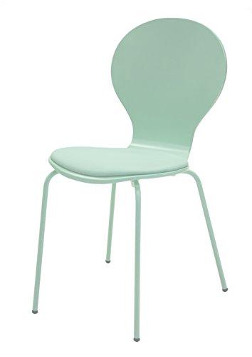 Tenzo 610-022 Flower 4-er Set, Designer Stühle, 87 x 46 x 57 cm, Schichtholz lackiert matt, Sitzkissen in Lederoptik, Untergestell Metall, lackiert, pastellgrün