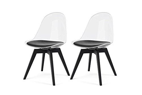 tenzo 2er- Set Stühle, Holz, Schwarz, 54 x 48,5 x 84 cm