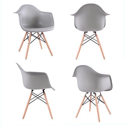 Ajie Lot von 4 Esszimmerstuhl, Retro Stuhl Beistelltisch mit Solide Buchenholz Bein - Grau