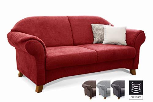 Cavadore 2-Sitzer Sofa Maifayr mit Federkern / Kleine Couch im Landhausstil mit Holzfüßen / 164 x 90 x 90 / Rot