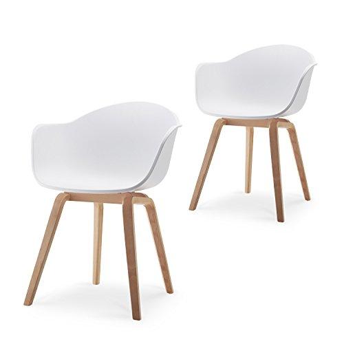 Damiware Romeo Wohnzimmerstuhl Esszimmerstuhl 2er-Set Weiß Polypropylen und Buchenholz Retro Design Stuhl für Büro Lounge Küche Wohnzimmergrey (Weiß)