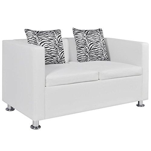 Festnight 2-Sitzer Sofa Kunstledersofa Loungesofa Rüchenlehne Couch mit 2 Kissen Sitzkomfort Weiß