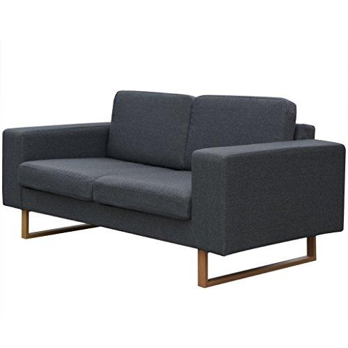Festnight Bequeme Sofa 2-Sitzer-Sofa Couch Loungesofa Wohnzimmersofa Stoffsofa Holzrahmen Dunkelgrau 156 x 82 x 76 cm