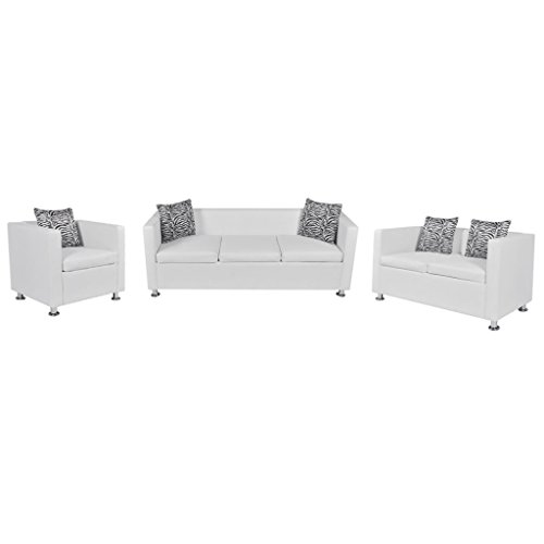 Festnight Sofaset Wohnzimmersofa Couch Loungesofa 3-Sitzer-Sofa 2-Sitzer-Sofa 1-Sitzer-Sessel mit 5 Kissen Weiß