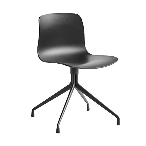 HAY About a Chair 10 Drehstuhl mit Sternfuß, Schwarz Gestell Aluminium pulverbeschichtet Schwarz mit Kunststoffgleitern
