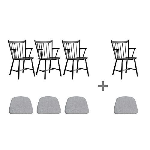 HAY Aktionsset 3+1 J42 Armlehnstuh mit Sitzkissen, schwarz lackiert Sitzkissen Stoff Hellgrau 1 Stuhl und 1 Sitzkissen gratis BxHxT 57,5x87x53,5cm