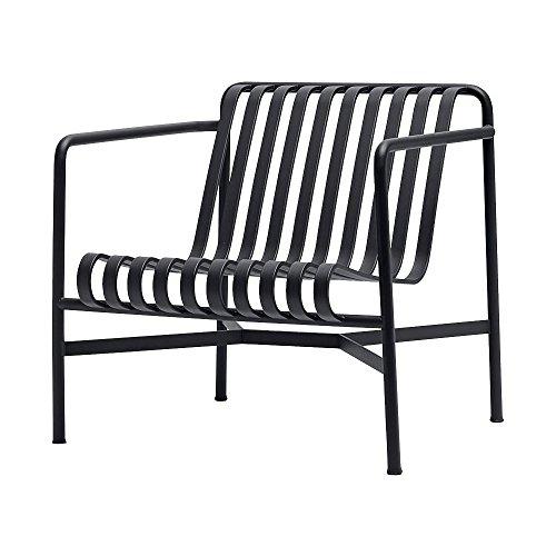 HAY Palissade Lounge Stuhl Niedrig, Anthrazit pulverbeschichtet 73x70x81cm