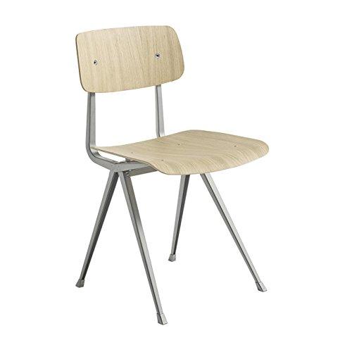 HAY Result Stuhl Gestell beige, Eiche matt furniert Gestell beige pulverbeschichtet Standardgleiter 45.5x81x48.5cm