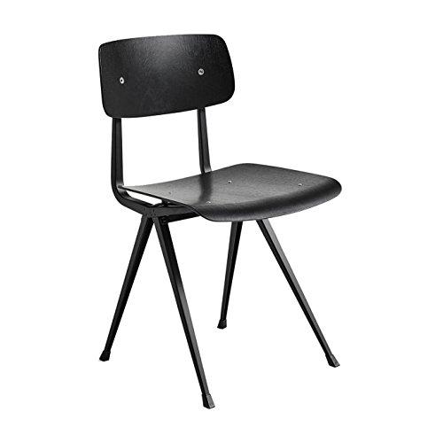 HAY Result Stuhl Gestell schwarz, Eiche schwarz furniert Gestell schwarz pulverbeschichtet Standardgleiter 45.5x81x48.5cm