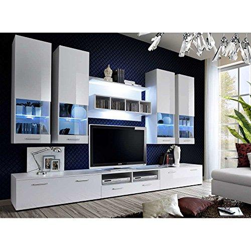 JUSTyou DERADE Wohnwand Anbauwand Schrankwand (HxBxT): 190x300x45 cm Weiß Matt/Weiß Hochglanz