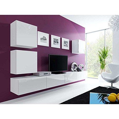 JUSTyou Vago XXII Quadrat Wohnwand Anbauwand Schrankwand Weiß Matt | Weiß Hochglanz