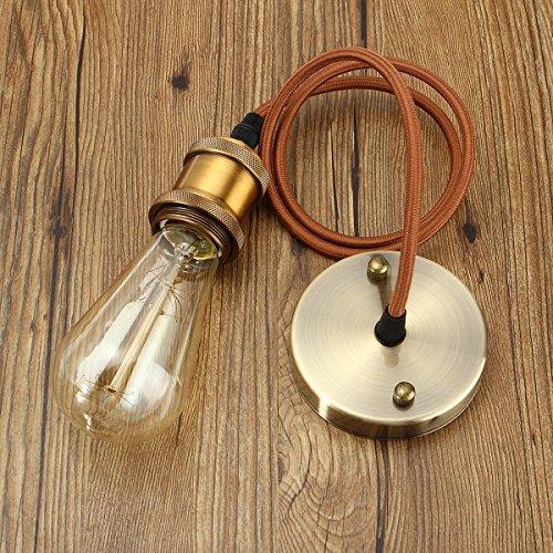 KINGSO E27 Hängelampe Kupfer Vintage Lampenfassung mit textilkabel Retro Antike Edison Pendelleuchte industrie lampenaufhängung mit baldachin deckenrosette Halter Lampe metall Zubehör mit 1 Meter Kabel Messing matt