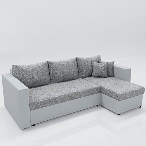 OSKAR Ecksofa mit Schlaffunktion Grau Weiß - Stellmaß: 224 x 144 cm Liegemaß: 200 x 140 cm - Sofa Couch Schlafcouch Dreisitzer Schlafsofa Eckcouch