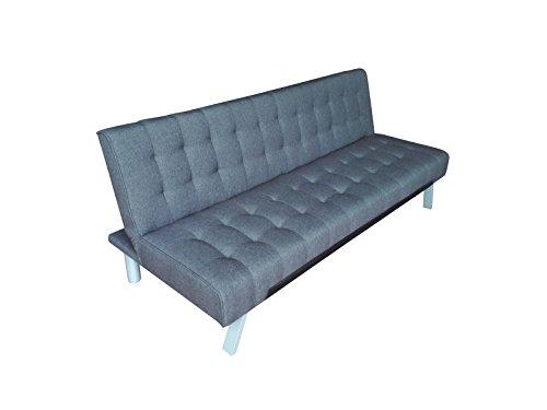 Sit Möbel SitforSofa 6020-05 Schlafsofa, Stoff-Bezug, Beine aus Edelstahl, Blau-grau, 180 x 80 x 77 cm