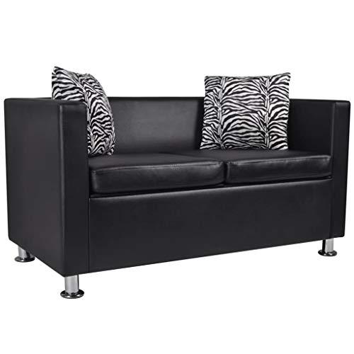 Sofa 2-Sitzer Kunstleder Schwarz Couch Schlafsofa Polstersofa Bettsofa Mit Zwei Kissen with Size:120 x 62,5 x 63 cm (L x B x H)