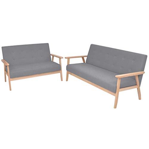 Zora Walter Sofa-Set 2-TLG. Stoff Hellgrau Couch Schlafsofa Polstersofa Bettsofa Mit 1 x 2-Sitzer-Sofa,1 x 3-Sitzer-Sofa
