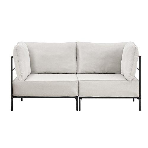 [en.casa] Individuell integrierbares Sofa Sandfarben - 2-Sitzer - Wohnlandschaft - Bestehend aus 2 Gestellen und Bequemen Polsterkissen - Textil