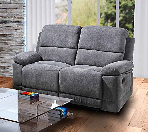 lifestyle4living 2 sitzer sofa in grauer microfaser mit praktischer relaxfunktion verstellbares. Black Bedroom Furniture Sets. Home Design Ideas