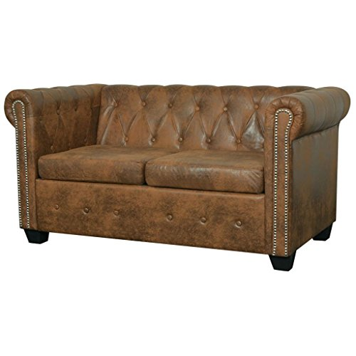 vidaXL Chesterfield Sofa 2-Sitzer Couch Lounge Büro Wohnmöbel Kunstleder Braun