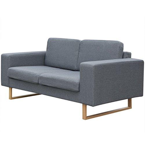 vidaXL Polstersofa 2-Sitzer Stoffsofa Loungesofa Couch Wohnzimmer Möbel Hellgrau