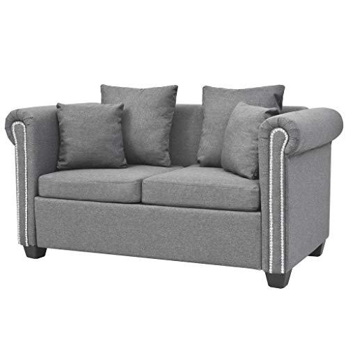 vidaXL Sofa Luxus Design 2-Sitzer Stoff Hellgrau Couch Polstersofa Stoffsofa