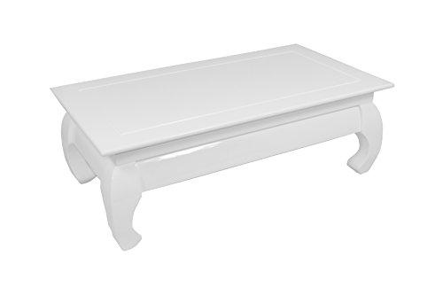 CAVADORE Couchtisch OPIUM 02/Niedriger Tisch mit schwungvollen Füßen in modernem Design/Hochglanz Weiß lackiert/60 x 110 x 38 cm (T x B x H)